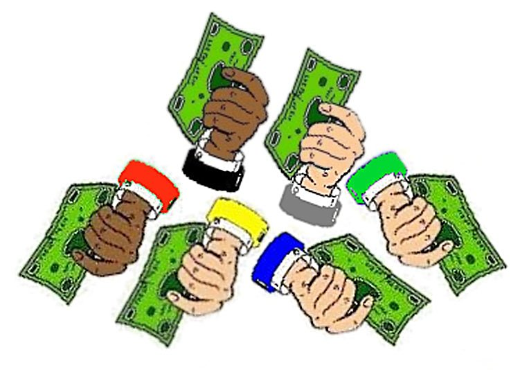 Several hands giving dollars to 3 projects.